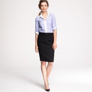 J. Crew Pencil Skirt in Wool Gabardine Black